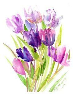 Giclee Print: Purple Tulips by Suren Nersisyan : 24x18in #watercolorarts