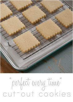 Perfect every time cut-out cookies . no dough-chilling required, can be frozen, perfect for decorating! from edwards {bake at ~ note to self - omit baking powder to avoid spreading, only sugar cookie recipe I use. Sugar Cookie Recipe No Chill, Sugar Cookies Recipe, Yummy Cookies, Cake Cookies, Cookie Recipes, Dessert Recipes, Desserts, Freeze Cookies, Crown Cookies