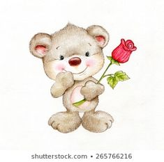 Cute Teddy bear with rose Happy Birthday Teacher, Scrapbook Images, Bear Paintings, Baby Painting, Sad Wallpaper, Cute Teddy Bears, Cute Dolls, Baby Design, Pretty Pictures