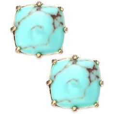 Lauren Ralph Lauren Gold-Tone Turquoise Square Stone Stud Earrings and other apparel, accessories and trends. Browse and shop 8 related looks.