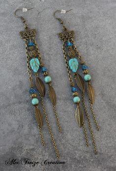 Bijou Créateur - Boucles d'oreilles pendantes bronze Pampilles Breloques plumes Intercalaires antiques Perles semi-précieuses Howlite turquoise