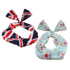 Girl's Pretty Cute Rabbit Ear Twist Bow DIY Wire Headband Hair Ribbon(2pc),H