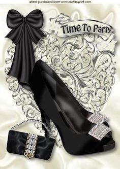 TIME TO PARTY WITH BLACK DIAMOND SHOES A4 on Craftsuprint - Add To Basket!