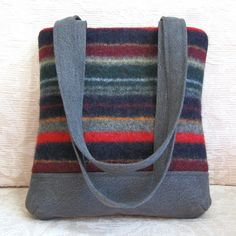 gray denim and striped sweater wool James style handbag | by FeltSewGood