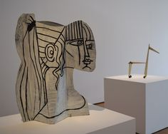 """Installation view of 'Picasso Sculpture' at the Museum of Modern Art with Pablo Picasso's """"Sylvette"""" (1954) at left and """"Little Horse"""" (1961) at right (all photos by the author for Hyperallergic)"""