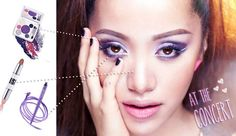 """Michelle Phan :""""Here's a breakdown for """"At the Concert"""" look! I used """"Shade Play palette in Los Angeles Purples"""", the easy contouring/highlighting stick called """"Chiaroscuro"""" (an art terminology), and the """"Waterliner in Royal Amethyst"""". http://www.emcosmetics.com/get-the-look"""""""