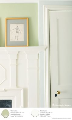 #ColorTrends2015: (wall) Regal Select, Matte, Guilford Green HC-116 (trim) ADVANCE, Satin, Chantilly Lace OC-65