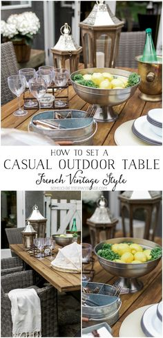 How to Set a Casual Outdoor Table, French Vintage Style | So Much Better With Age Vintage Industrial Lighting, Industrial Light Fixtures, Vintage Light Fixtures, Outdoor Tables, Indoor Outdoor Rugs, Outdoor Decor, Outdoor Living, Outdoor Spaces, Evening Garden Parties