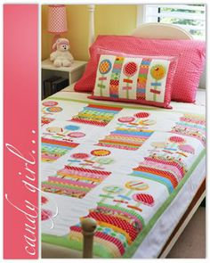 CANDY GIRL QUILT & CUSHION THE JANELLE WIND COLLECTION PATTERN - $15.75 : PatternsOnly, Patterns for Quilting, Patchwork, Handbags, Soft Toys,Clothing and More