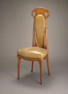 Hector Guimard (1867-1942). Side Chair. Pear Wood and Leather with Brass Tacks. France. Circa 1908. Smithsonian, Cooper-Hewitt Museum. New York.