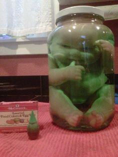 How to get a doll in a jar. Great for a Halloween apothecary or mad scientist display.