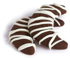 Black & White Crescents by Fine Cooking Crescent Cookies, Eat Me Drink Me, Crescent Recipes, Food & Wine Magazine, Crescents, Wine Recipes, Bar Recipes, Recipe For 4, Vegetarian Chocolate