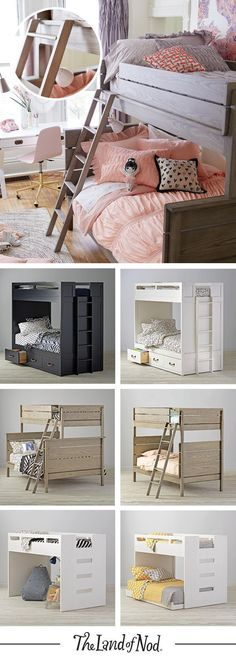 Searching for kids bedroom furniture that's stylish and a perfect fit for any sized room? Look no further. Our kids bunk bed is an essential pick for every girl's or boy's bedroom. The Topside Storage Bunk Bed features tons of storage (three roomy drawers can seriously hold it all). The Wrightwood Bunk Bed has a stunning stained grey finish and can coordinate with your other furniture and decor. Both styles will feel right at home in any kids bedroom. #kidsbedroomfurniture #kidsfurniture