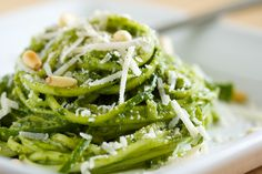 recruittheglute:  Kale Pesto with Vegetable Noodles Serves:2¼ cups  Ingredients ¼ cup pine nuts, toasted ¼ cup parmesan, grated 2 cloves gar...