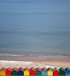 Beach huts at sea side, Whitby, England