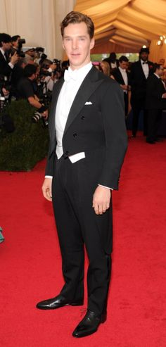 Benedict Cumberbatch looked seriously dapper (and very British) in a white tie tuxedo.