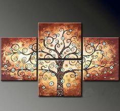 pintado à mão pintura abstrata moderna de 4 peças a óleo sobre tela da árvore de sorte