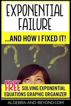 Grab this FREE solving exponential equations graphic organizer. Math Teacher, Teaching Math, Math Class, Teacher Tips, Teacher Stuff, Maths, Teaching Ideas, High School Algebra, Algebra 1