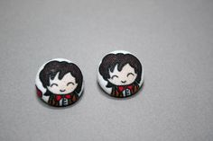 11th Doctor Button Earrings - Doctor Who Doodle - Post Fabric Covered Studs for $5 +s&h by JustPeachyHandmade on Etsy