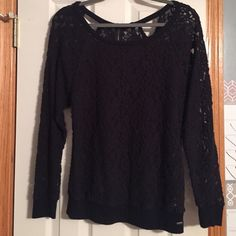Black lace top Black rose lace see-through top. Very comfy! 2 small cutouts and a zipper in the back. Worn only a few times, great condition! Guess Tops Tees - Long Sleeve