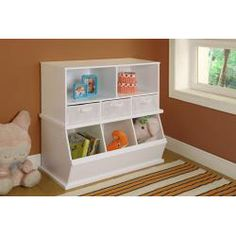 @Overstock - Badger Basket's shelf storage cubby is a storage solution for keeping items tidy and out of sight. Two generously sized open shelves are ideal for sorting and separating books, crafts and toys. Three baskets below keep small items organized.http://www.overstock.com/Baby/Badger-Basket-White-Storage-Cubby-with-Baskets/7019025/product.html?CID=214117 $92.99