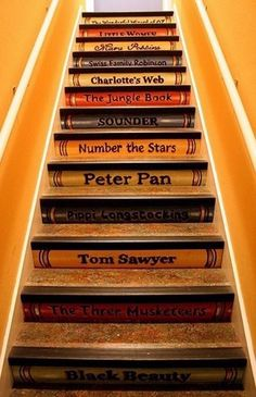 I really want a house with a staircase, just not very practical now. Staircase Painting Ideas Transforming Boring Wooden Stairs with Cool Designs Painted Staircases, Painted Stairs, Wooden Stairs, Stenciled Stairs, Hardwood Stairs, Spiral Staircases, Stairs Flooring, Book Staircase, Bookcase Stairs
