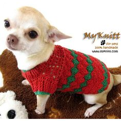 Red Green Cotton Handmade Crochet Dog Clothes Unique Pets Jumper Chihuahua Clothing D875 Myknitt. via Etsy.
