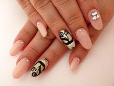 Beautiful yet Simple Japanese Nail Art Manicure (Nude, Black Swirls, Lines, Crystals, Rhinestones)