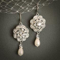Declaración inspirada vendimia pendientes novia hermosa Art Decó flores colgantes conjunto de características en filigrana de plata para crear un