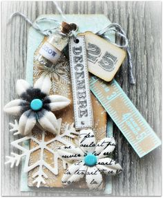 Christmas tag that sits in the cloche.