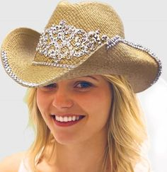 Country Wedding? Natural Straw Country Western Bride Hat with Veil