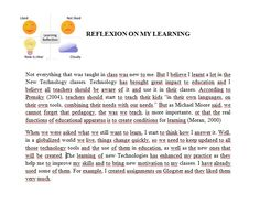 Reflexions on my learning
