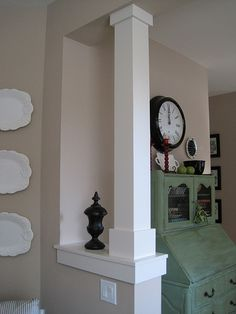 Like this column style for the front porch - nice update to replace the current hideous round tiny one Basement Plans, Basement Remodeling, Basement Doors, Basement Storage, Basement Laundry, Walkout Basement, Basement Ideas, Laundry Room, Living Room Remodel