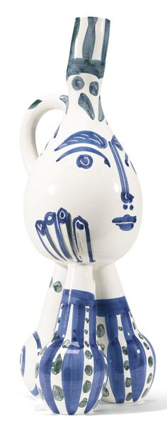 TRIPODE, large terre de faïence vase, 1951, partially glazed and painted,  height: 760mm