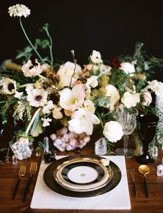 Blush Flower Runner with a Dramatic Black and Gold Place Setting.