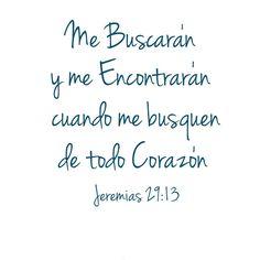 << Me buscarán y me encontrarán cuando me busquen de todo corazón >>.  Jeremías 29:13
