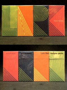 Design created in 1968 by George Tscherny for Lark. (Great design, terrible product.)