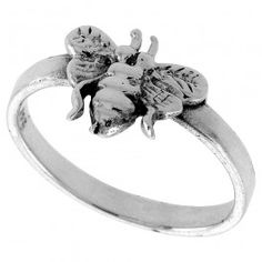 Sterling Silver Bee Ring 3/8 wide.