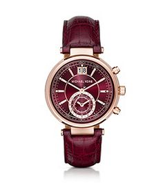 Sawyer Rose Gold-Tone and Embossed-Leather Watch par Michael Kors