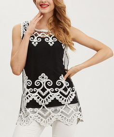 Look what I found on #zulily! Black & Beige Damask Crochet Tank by Simply Couture #zulilyfinds