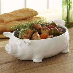 Lucky Pig Serving Bowl Ceramic White Porcine Fun & Function Pig Shaped Cute Pigs #BirchLane