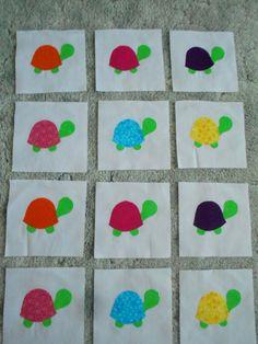 """Set of 12 Cute Colorful Turtle Quilt Blocks 6 1/2"""" x 6 1/2"""" Fusible Applique #Brightfabrics"""