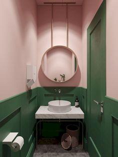 balm interior 🏼️ home deco salle de bain bathroom color pastel rose pink Bathroom Interior, Modern Bathroom, Interior Design Living Room, Colorful Bathroom, Bathroom Pink, Green Bathroom Colors, Small Bathrooms, Modern Interior, Master Bathroom