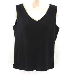 Lauren Ralph Lauren PL Petite L Black Cotton Knit V-Neck Sleeveless Top Sweater #LaurenRalphLauren #VestSleeveless #Work