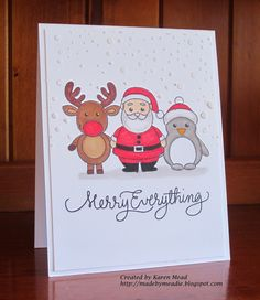 Made by Meadie: More Christmas Cards - Weihnachten - noel Christmas Cards Drawing, Christmas Doodles, Watercolor Christmas Cards, Christmas Card Crafts, Christmas Art, Funny Christmas Cards, Handmade Christmas, Bullet Journal Christmas, December Bullet Journal
