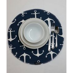 Rts Set of 4 Round Fabric Placemats Sailor Nautical Anchors Navy Blue... (€23) ❤ liked on Polyvore featuring home, kitchen & dining, table linens, grey, home & living, linens, navy blue tablecloth, grey table runner, outdoor table cloth and outdoor tablecloth