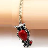 Owl CZ Crystal - Silver Tone Necklace (Free Ship)