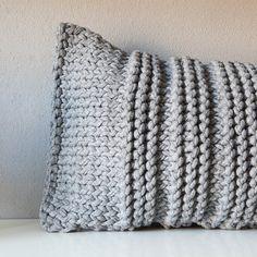 grey knit pillow