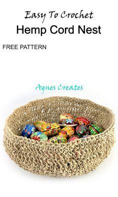 Hemp Cord Nest Crochet Pattern Free - Agnes Creates Half Double Crochet, Single Crochet, Crochet Hooks, Free Crochet, Basket Decoration, Afghan Crochet Patterns, Slip Stitch, Crochet Designs, Hemp