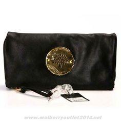 New Womens Mulberry Daria Leather Clutch Bag Black Discount Mulberry Daria 235b6c6ce92d4